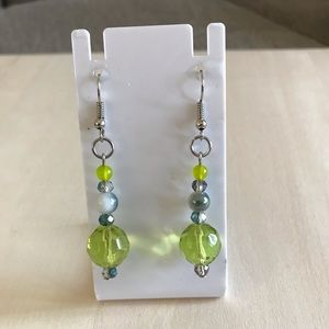 Beaded Green Jade Gemstone Silver Drop Earrings